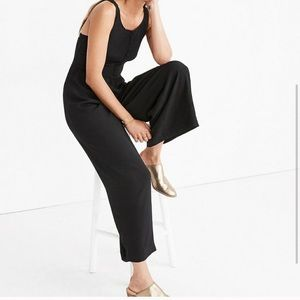 Madewell smocked button front crop jumpsuit